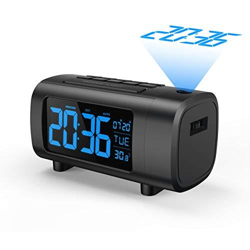"""Mpow FM Radiowecker mit Projektion, Projektionswecker, Digitaler Wecker, 3,9\"""" LED Wecker mit Projektion, Blau/Weiße Ziffern mit Dimmer, Snooze, Temperatur, Datum, DST, Sleeptimer, USB-Anschluss"""