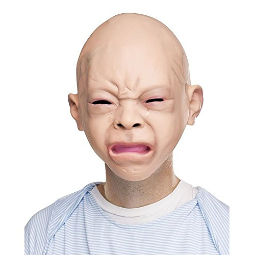 Moresave Gruselige Halloween-Kostüm Schrei Baby Voller Kopf Latex Maskerade Maske für Erwachsene (Baby-halloween-maske)