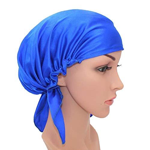 Mulberry Silk Night Schlafmütze Mütze, 2er Pack Naturseide Frauen Schlafmütze, Schlafmütze für Frauen Kopfhaube Mütze für Haar Schönheit mit Gummiband für Schlaf,Blue -