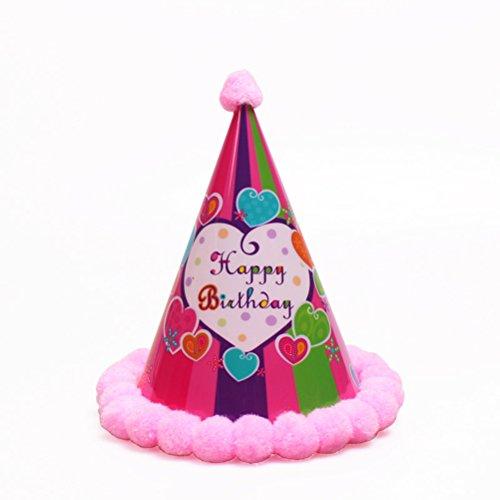 (BESTOYARD Geburtstagsparty Hüte Caps Beleuchtete Pom-Pom Kegel Hut für Kinder Geburtstag Party Dekoration (Rosa Gestreift))
