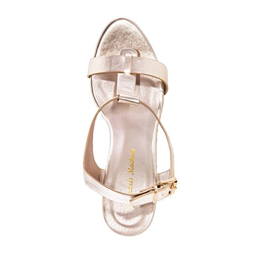 Andres Machado - AM5129 - T-Bar-Keilsandalen aus Soft in Weiß AM5129 Gold