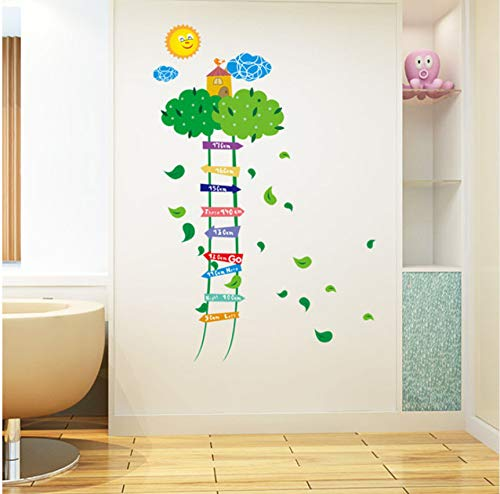 Creative air château nuage échelle dessin animé stickers muraux bébé enfant grandir mesure de la hauteur autocollant enfants chambre entrée décor decal