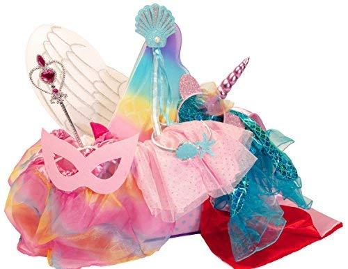 MMP Living Verkleidungsset mit 5 Kostümen: Einhorn, Prinzessin, Meerjungfrau, Engel, Superheld (Mädchen Superhelden Kostüm Mit Tutus)