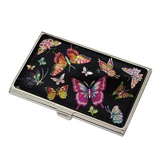 Perlmutt Design Visitenkartenetui Schmetterling Metall SchwarzBusiness Card Edel