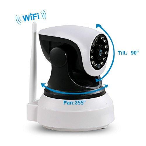 Überwachungskamera IP Kamera mit WiFi HD Wireless WLAN Kamera Kamera-Sicherheitssystem 720P P2P IR Nachtsicht drahtlose Überwachungs-Kamera IP Camera für Security Home Baby Monitor 1 + 3M Netzkabel Verlängerungskabel