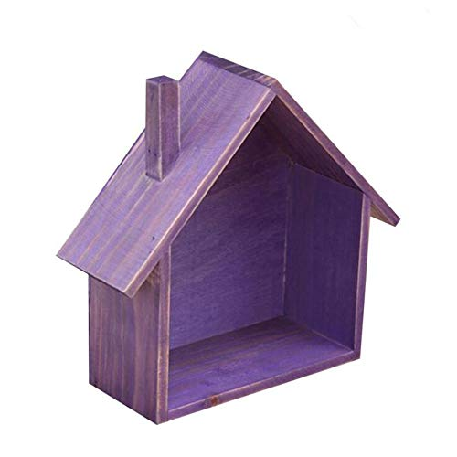 RUICK Holzhaus Form Wandregal Halter Deko-Hänger Box Creative House Regal Display Einheit Colorful Storage Craft Lebensmittels Organizer Violett -