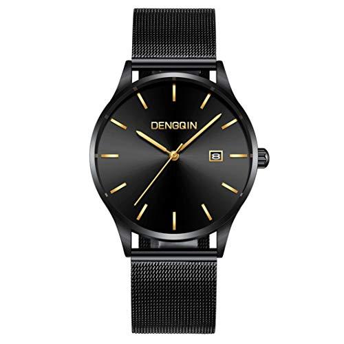 Premium Unisex Armbanduhr Damen Herren Uhr Uhren Damenuhr Chenang Quarzwerk Wasserdicht für Männer Frauen Luxus-Quarz-Sport-Militäredelstahl-Vorwahlknopf-Lederband-Armbanduhr
