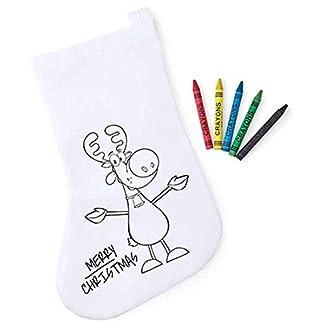 Lote de 30 Calcetines Infantiles Navidad para Colorear con 5 Ceras Incluidas – Bolsas para Pintar y Colorear Infantiles Navideñas Papa Noel – Regalos Originales Navidad Niños