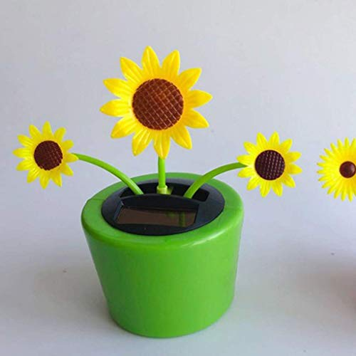 Healthy Clubs Solar Power Flower Insect Dancing Doll Solar Powered Toy Toy Car Decor - Sunflower, 5.5x12x12cm