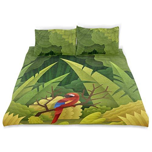 Vipsa Bettwäsche-Set Papageien im Wald, 3-teilig, 100% Baumwolle mit Reißverschluss, Bio-Modernes Schmusetuch Set Full/Queen (Set Bettwäsche Bio-queen)