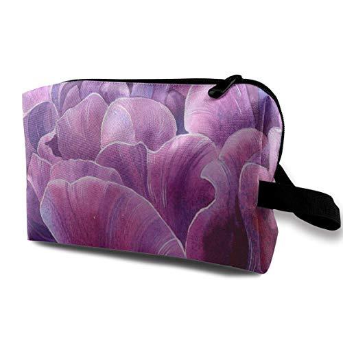 Purple Tulip Painting Travel Toiletries Bag Sturdy Organizer Cosmetic Handbag For Women Men Portable