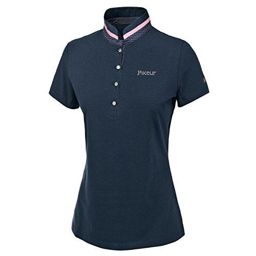 PIKEUR Damen Polo Shirt mit Stehkragen aus Canvas NELE Bleu Marine