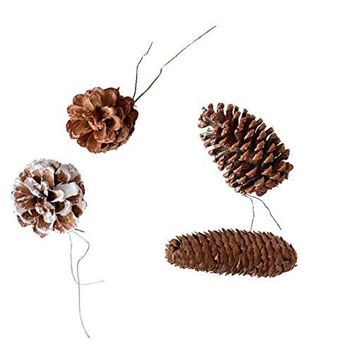 Wangwtry 4 pezzi di ornamenti natalizi cono di pino naturale albero di natale cono di pino decorazione ciondolo puntelli di tiro set di decorazione di fiori secchi