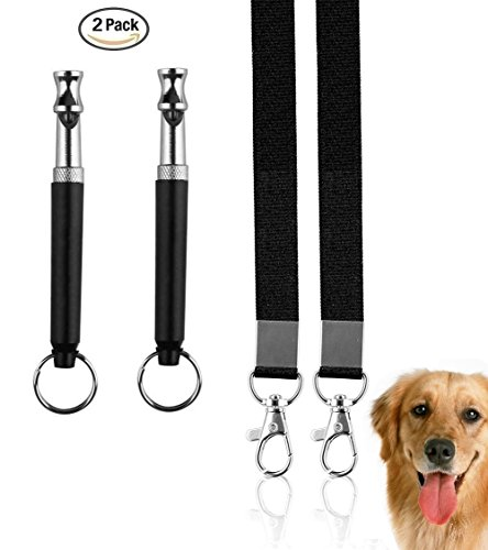 Golvery Dog Training Whistle with Lanyard, Fantastic Dog Whistles for Sonic Barking Deterrents, Dog Obedience Behavioral Aids with Adjustable UltraSonic Frequency – Set of 2 - Black