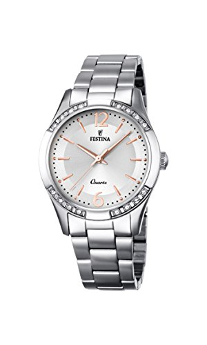 Festina BOYFRIEND Women's Quartz Watch with Silver Dial Analogue Display and Silver Stainless Steel Bracelet F16913/1