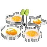 Cucina in acciaio inox uovo fritto Mold Cuore Pancake Stampo Ring Cottura Uovo fritto Shaper, Set di 4