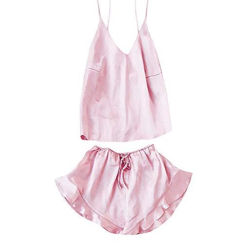MEIbax Damen Sexy Dessous Nachtwäsche Satin Silk Babydoll Lace Up Nachtwäsche Pyjamas Set Babydoll Lingerie Spitze Lingerie ()