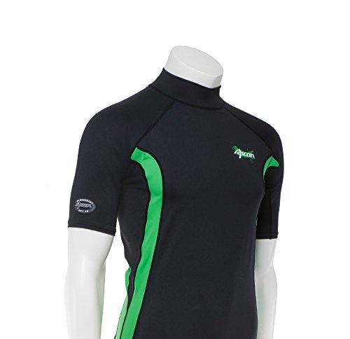 Ascan Shirt UV-Schutz Lycra Schwarz/Grün Kurzarm Rashguard SURF KITE WAKE