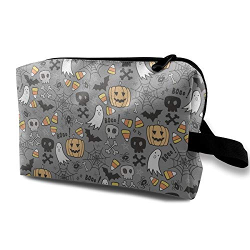 Travel Cosmetic Bag Halloween Doodle with Skulls,Bat,Pumpkin,Spiderweb,Ghost On Grey Mini Makeup Pouch for Women Girls ()