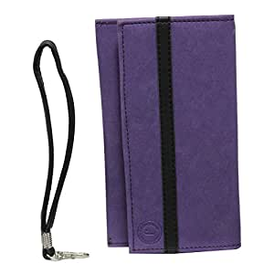 Jo Jo A5 Nillofer Leather Wallet Universal Pouch Cover Case For Intex Aqua 3G Strong Purple Black