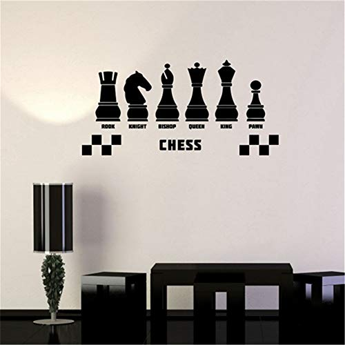 yiyiyaya Vinyl Aufkleber Schach Club Intellektuelle Spiel Wandaufkleber kinderzimmer Wohnkultur weiß 58 x 28 cm