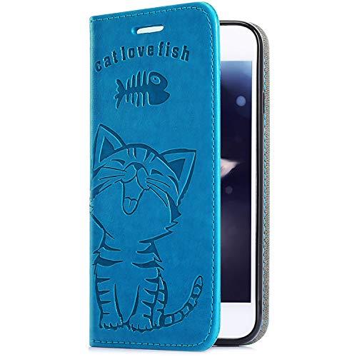 Uposao Handyhülle für Samsung Galaxy J6 2018 Leder Tasche Schutzhülle Flip Case Cover Handytasche Lederhülle Niedlich Katze Muster Klapphülle Handytasche Lederhülle Mit Kartenfach,Blau