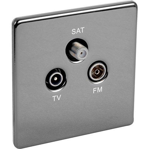 Preisvergleich Produktbild Steckdosenblende schwarz nickel triplexer TV, FM, SAT Sockel