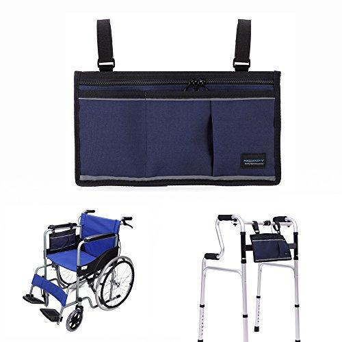 Rollstuhl Armlehne Nylonhülle Organizer Aufbewahrungstasche für Seite und Rückseite des Stuhl–passend für die meisten Roller, Gehhilfen, Rollatoren, manuell, Powered oder elektrische Rollstühle, Side Pounch - Dark Blue