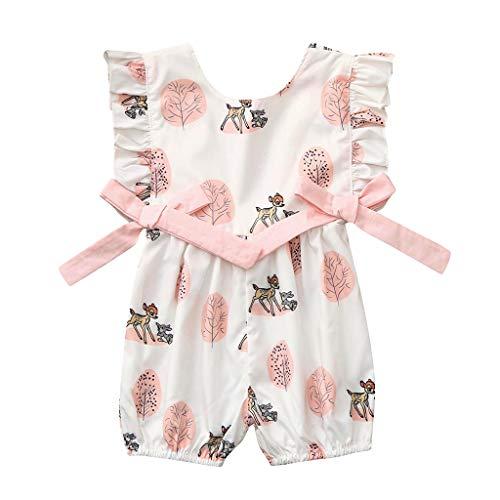 SUNFANY Prinzessin Mini Jumpsuit,Neugeborene Säuglingsbaby-Jungen-Bogen-Karikatur-Rotwild-Spielanzug-Overall-Kleidungs-Ausstattungen,Baby Geschenk(Weiß, 90/12-18 Monate)