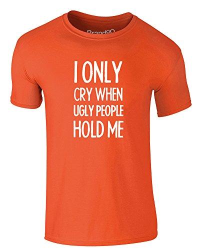 Brand88 - I Only Cry When..., Erwachsene Gedrucktes T-Shirt Orange/Weiß