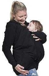 Evagreen Tragejacke 3 in 1 für Papa, Mama und Baby | Sportliche Freizeitjacke mit Babyeinsatz, Umstandsjacke (L, Schwarz)