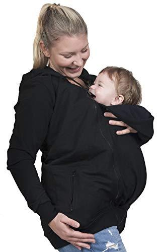 Evagreen Tragejacke 3 in 1 für Papa, Mama und Baby | Sportliche Freizeitjacke mit Babyeinsatz, Umstandsjacke (M, Schwarz)