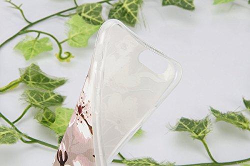 Coque Housse pour iPhone 6, iPhone 6 Coque Silicone Etui Housse, iPhone 6s Souple Coque Etui en Silicone, iPhone 6 / 6s Silicone Transparent Case TPU Cover, Ukayfe Etui de Protection Cas en caoutchouc Fleurs #9