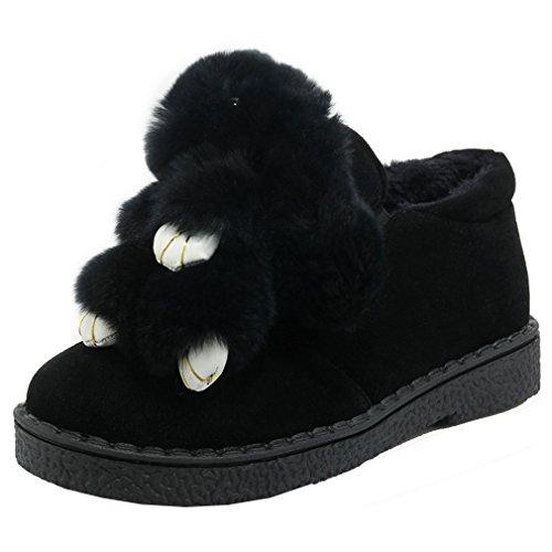 ENMAYER Femmes Dames Automne / Hiver Décontracté Chaude Chaussures Chaussures Toe Plat Avec Décoration Animal Noir