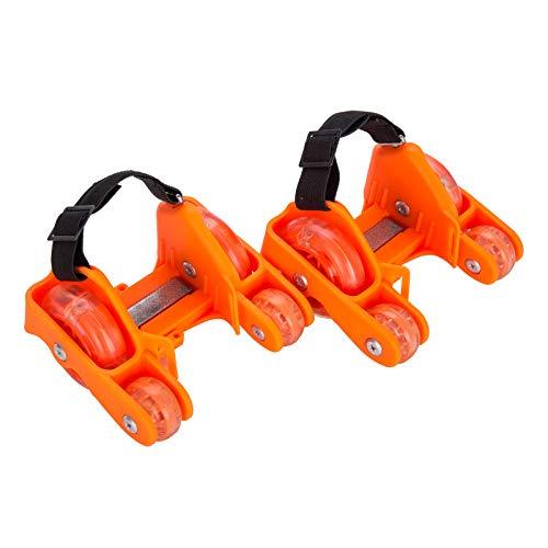 YLOVOW Fersenroller LED Flashroller Street Gliders Rollen Schuhe Kinder Mädchen Jungen LED Schuhe 130Kg,Orange