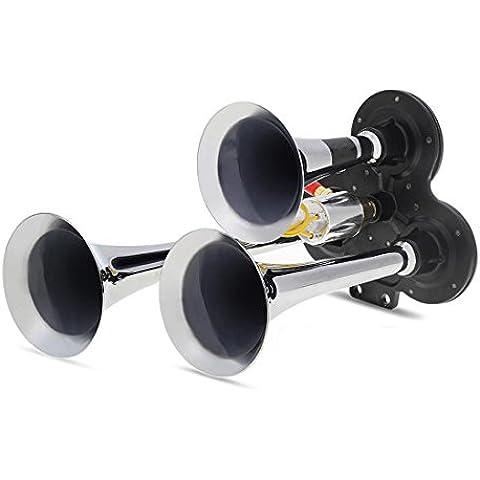 Triple Trumpet Air Horns 150,2Db per auto, Van camion camion metallo resistente veicolo elettrica Super (Super Forte Horn)