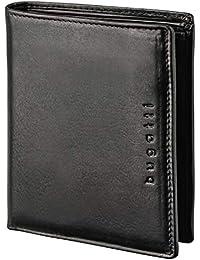 BUGATTI Romano Echtleder Geldbörse im Hochformat, Portemonnaie aus echtem Leder für Herren, hochwertige Brieftasche