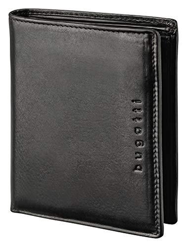 Bugatti Romano Geldbörse Herren Leder mit RFID Schutz - Portemonnaie Herren Querformat Schwarz - Geldbeutel Portmonee Wallet Brieftasche Männer Portmonaise