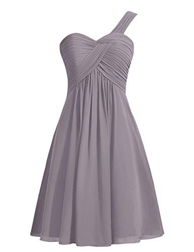 Dresstells, Épaule asymétrique robe de demoiselle d'honneur, robe de cocktail en mousseline Gris