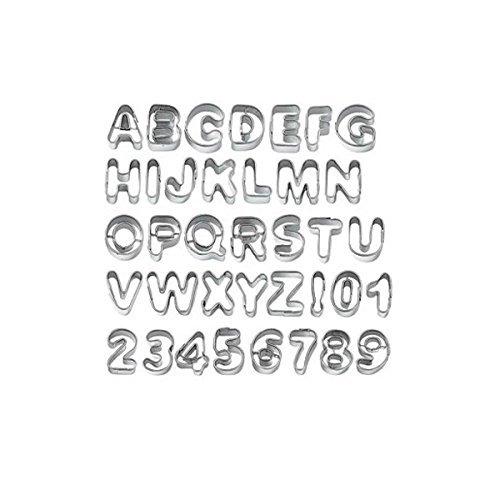 PIXNOR 37pcs Metall Alphabet Buchstaben Anzahl Cake Decorating Schneidgeräte Cookie Keks Schimmel Schimmel Set