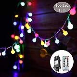 Guirlande lumineuse,Tomshine 13M 100 LED ampoule, 8 Modes avec télécommande, étanche IP44, Luminosité réglable, 3.6W LED Petites Boules (Multicolore)...