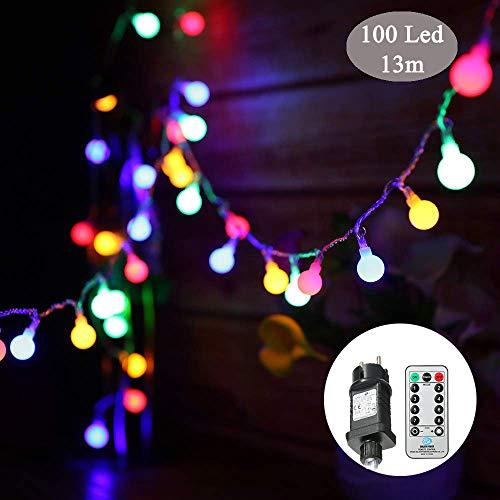 Guirlande lumineuse,Tomshine 13M 100 LED ampoule, 8 Modes avec télécommande, étanche IP44, Luminosité réglable, 3.6W LED Petites Boules (Multicolore)