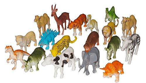 Forever Kidzz Domestic Animal Set Zoo Wild Animal Set with Dino Figure 20 pcs