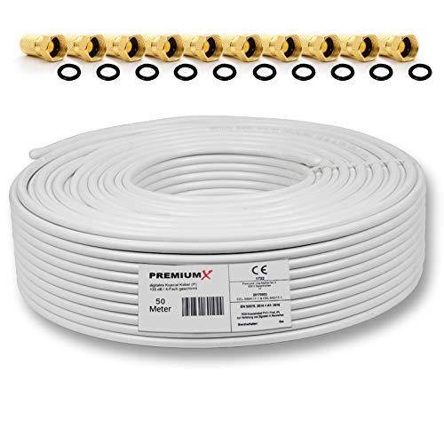 50m 135dB Sat Koaxialkabel Koax Kabel Reines Kupfer Digital PremiumX Profi FullHD UltraHD 4K 4-Fach geschirmt für DVB-S / S2 DVB-C DVB-T und BK Anlagen + 10 F-Stecker mit Gummiring -