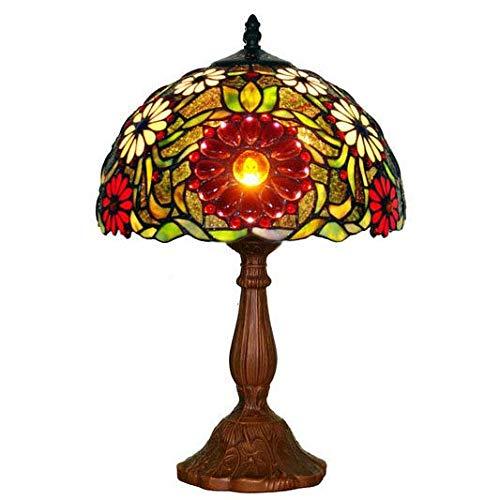 BEAR&MH 14-Zoll-Tiffany-Tischleuchte, rote Blume-Tischlampe mit Aluminium-Standfuß und Glasmalerei, Schlafzimmer-Couchtisch Wohnzimmer Schreibtisch Nachttischlampe 40W E27 (Rot Care Bear)