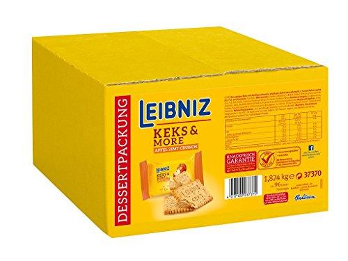 Leibniz Keks & More Apfel Zimt Crunch im 96er Pack — Butterkekse mit Apfelstückchen in der Großpackung — Apfelkekse in der 2er-Portionspackung einzeln verpackt — Zimtkekse in Box (96 x 19 g)