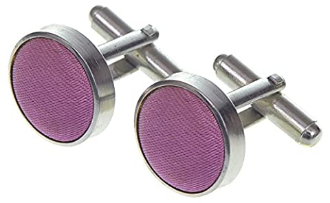 HIGH QUALITY MENS SILKY SATIN CUFFLINKS IN 27 COLOURS MATCHING SILKY SATIN TIES, CRAVATS & HANDKERCHIEFS / HANKYS AVAILABLE (LAVENDER, CUFFLINKS)