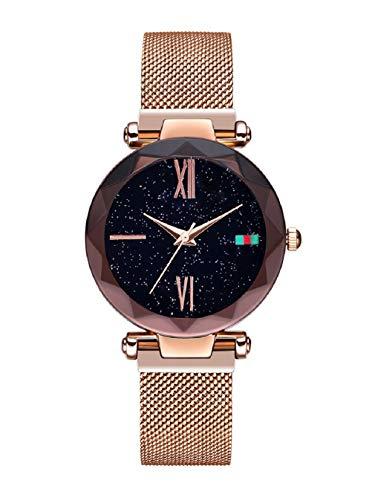 Damen Uhren, L'ananas Frauen Sternenklarer Himmel Wählen Diamant schneiden Mesh Riemen Armband Armbanduhr Women Watches (Roségold-B)
