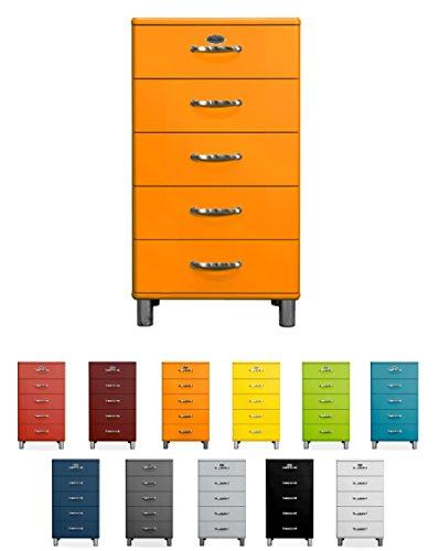 TENZO Malibu Designer Chiffonnier avec 5 Tiroirs Panneaux de Particules & MDF, Orange, 60 x 41 x 111 cm