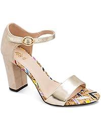 tresmode Women's Victoria Beige Suede Block Heel Sandals